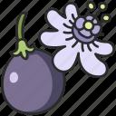 vegan, vine, plant, passion, fruit, flower icon