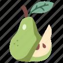pear, fresh, diet, half, juicy, fruit, food icon