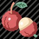 litchi, lychee, juicy, fruit, vegan, organic, sweet icon