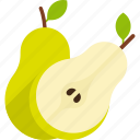 cut, food, fruit, green, leaf, pear, whole icon