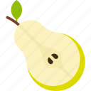cut, food, fruit, green, leaf, pear icon