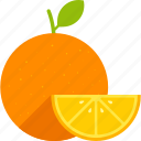 food, fruit, leaf, orange, slice, whole, yellow icon