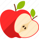 apple, cut, food, fruit, leaf, red, whole icon