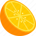 cut, food, fruit, orange, yellow icon