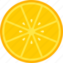 food, fruit, orange, slice, yellow icon