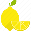 food, fruit, leaf, lemon, slice, whole, yellow icon
