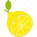cut, food, fruit, leaf, lemon, yellow icon