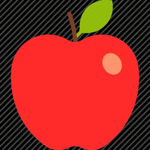 apple, food, fruit, leaf, red, whole icon