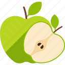 apple, cut, food, fruit, green, leaf, whole icon