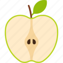 apple, cut, food, fruit, green, leaf icon