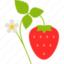 branch, flower, food, fruit, healthy, leaf, strawberry icon
