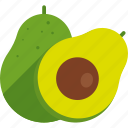 avocado, cut, food, fruit, seed, tropical, whole icon