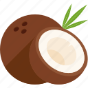 coconut, cut, food, fruit, leaf, tropical, whole icon