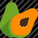 cut, food, fruit, papaya, seed, tropical, whole icon