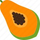 cut, food, fruit, papaya, seed, tropical icon