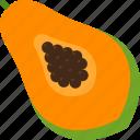 cut, food, fruit, papaya, seed, tropical