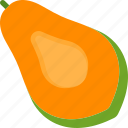 cut, food, fruit, papaya, tropical icon