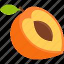 cut, food, fruit, leaf, peach, seed, tropical icon