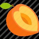 cut, food, fruit, leaf, peach, tropical icon