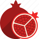 cut, food, fruit, pomegranate, tropical, whole icon