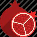 cut, food, fruit, pomegranate, tropical, whole icon