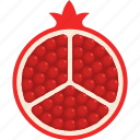 cut, food, fruit, pomegranate, seed, tropical icon