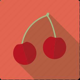 cherry, food, fruit, pair icon