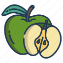 green, apple