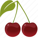 cherries, cherry, dessert, diet, eco, food, fresh, fruit, green, healthy, nutrition, sweet, vegetarian icon