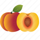 dessert, diet, eco, food, fresh, fruit, healthy, nutrition, peach, sweet, vegetarian icon