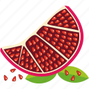 dessert, diet, eco, food, fresh, fruit, healthy, nutrition, pomegranate, sweet, vegetarian icon