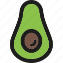 avocado, dessert, food, fruit, fruits, healthy, organic icon