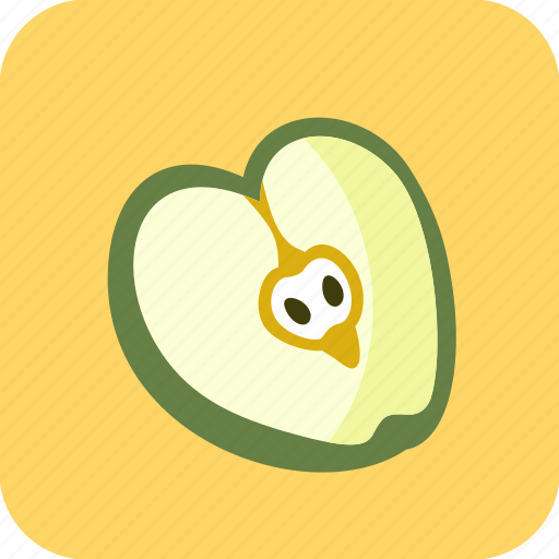 apple, food, fruit, half, piece icon