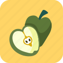 apples, food, fruit, half, piece icon