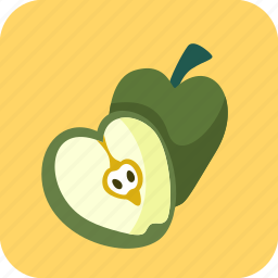 apples, food, fruit, half, piece icon