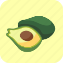 avocados, food, fruit, half, piece, tropical icon