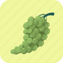 bunch, food, fruit, grapes, green icon