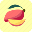 food, fruit, mango, piece, slice, tropical icon
