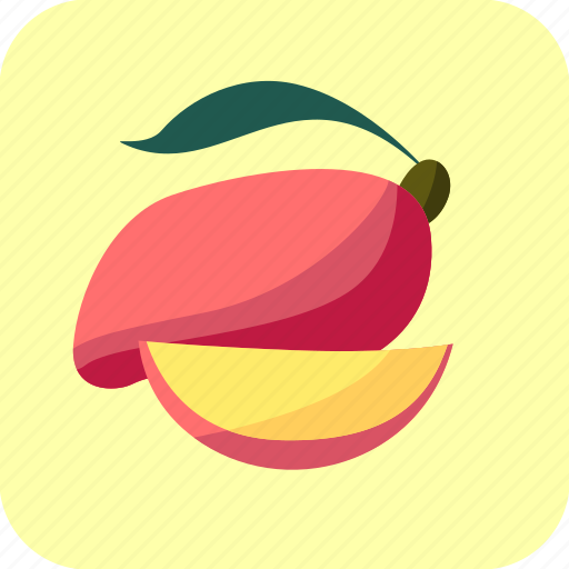 food, fruit, mango, piece, slice, tropical icon