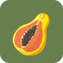 food, fruit, half, papaya, piece, tropical icon
