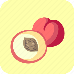 food, fruit, half, peaches, piece icon