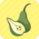food, fruit, green, half, pears, piece icon