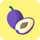 blue, food, fruit, half, piece, plums icon