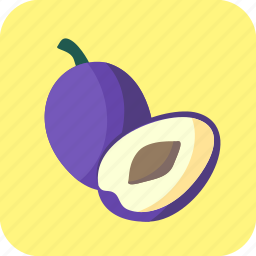 blue, food, fruit, half, piece, plums icon