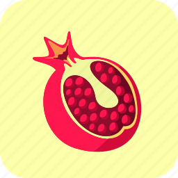 big, food, fruit, half, piece, pomegranate icon