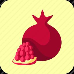 food, fruit, piece, pomegranate icon