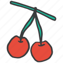 cherries, food, fruit, healthy, plant, twig, vegetable icon