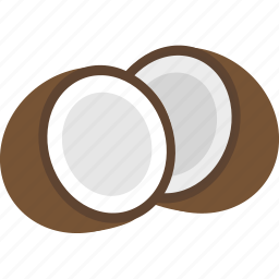 coconut, eat, food, healthy, saturated fat, seed, shell icon