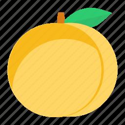 eat, food, fresh, fruit, green, healthy, peach icon
