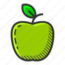 apple, dessert, food, fruit, green apple, healthy, vitamin icon